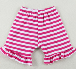 Hot Sale Girls Boutique Short ,Ruffle Striped Baby Girls Shorts,6T cotton Knit summer baby panties