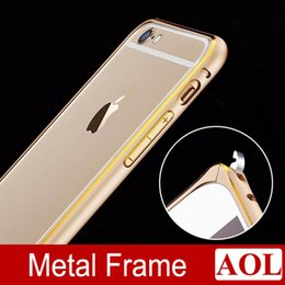 Wholesale Circle Arc No Screw Aluminum Metal Double Color Bumper for iphone plus Frame Bumpers Cover Case for iphone s