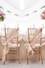 Wholesale Champagne Chair Sashes DIY Wedding Chair Decorations cm Elastic Satin Like Silk Custom Made Chair Bows Wedding Chair Covers