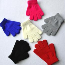 Enfants Enfants Gants Hiver Gants tricotés Couleurs solides Pleine étirer des doigts Bébés Garçons Filles Gants Mitaines chaudes 2-10 ans de qualité supérieure à partir de garçons doigt moufle fabricateur