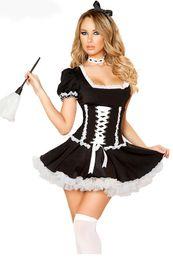 Wholesale produtos eroticos adult onesie Black White French Maid Costume Set LC8803 New sexy wonder woman cosplay costumne