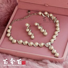 Wholesale The imported Austrian diamond crystal long pendant Pearl Necklace Jewelry Wedding wedding bride set chain mail bag