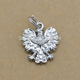 Wholesale Top Sale Zinc Alloy Tibetan Silver Plated Poland National Emblem Eagle With Jump Ring Charm Jewelry