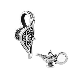 Free Shipping Wholesale Metal Rhodium Plating Magic Lamp Charm European Charm Beads For Pandora Charm Bracelet