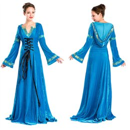 Women's Blue Velvet Renaissance Medieval Gothic Costume Hooded Long Dress Halloween Costumes Countesses Cosplay Dress Free Size Freeshipping