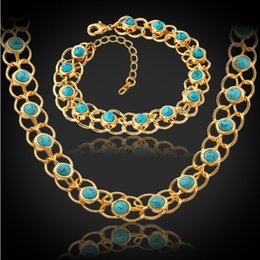 2015 New Trendy Turquoise Jewelry Set 18K Real Gold Plated 12 MM Chunky Necklace Bracelet Fashion Jewelry Sets For Women S5139