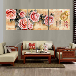 3 Pieces Modern Painting Art Picture Paint on Canvas Prints Abstract cartoon animation tree peony flower chinese characters proverb