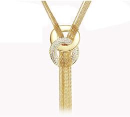 2017 pendeloques de cristal Femmes Long Tassel Collier en multicouche de haute qualité collier en or 18K cristal autrichien Pull colliers de chaînes par DHL pendeloques de cristal promotion
