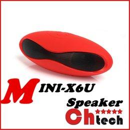 Wholesale Mini X6 X6u Bluetooth Speakers Rugby Shape Wireless Stereo Built in Mic Hands free Mini Portable Subwoofer Speaker Box
