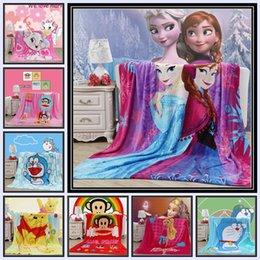 Wholesale 19 color kid kt barbie spidermen minnions princess thomas sofia mc car dora pooh mickey Altman nap warm large blanket TOPB1192