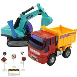 Wholesale Thickening digging machine dump car toy friction car series of loader combination