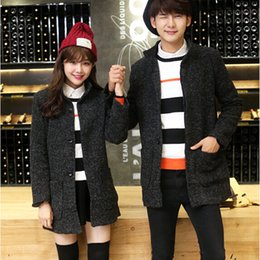 Fall-Autumn and winter of 2015 Korean men and women couples dress like loaded wool coat in the long winter's wool coat