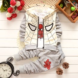 Wholesale 2015 Boys Toddlers Spiderman Clothes Autumn Tracksuit Coat T shirt Pants Outfits Y