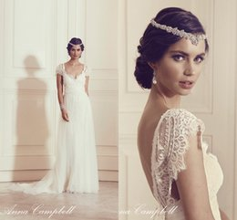 Wholesale Anna Campbell Cap Sleeves Romantic A Line Wedding Dresses French Eyelash Lace Appliques Sweep Train Bridal Gown Backless Spring Wedding