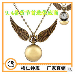 Wholesale Vine Fashion necklace Harry Potter small bronze round sphere smooth surface patternt pocket watch with chain factory sale