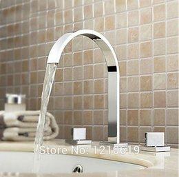 Wholesale Newly US Solid Brass Chrome Finished Bathroom Sink Basin Faucet Arc Spout Mixer Tap Dual Square Handles Deck Mount