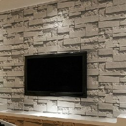 Wholesale Modern Stacked brick d stone wallpaper roll grey brick wallpaper wall background wallpaper for living room pvc vinyl wall paper