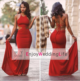 Wholesale New Sexy Red Halter Jersey Mermaid Prom Dresses Sleeveless Backless Floor Length Formal Women Party Evening Gowns