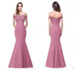 Cheap Full Lace Long Party Pink Evening Dresses 2017 Mermaid Off-Shoulder Boat-Neck Embroidery Lace Evening Dresses Vestido De Renda
