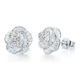 925 sterling silver earrings crystal jewelry clear 3 flower stud earrings wedding exquisite vintage fine charms