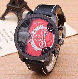 Wholesale Antique leather big dial half circle wristwatch men s business quartz watch fashion sports circle watches bangle cool party festive gift