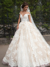 Wholesale vestidos de novia Ball Gown Wedding Dresses Sheer Nude Tulle Crew Neckline Chapel Train Lace Bridal Gowns Inspired by Millanova Barbara