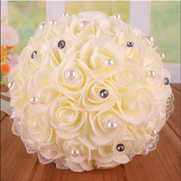 Wholesale Bridal bouquet wedding PE rose gold powder simulation bride holding flower bouquet high end wedding photography HY00252
