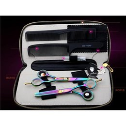 Smith Chu 5.5 in. Professional Hair Scissors set ,Straight & Thinning barber shears,colorful,6CR13,58HRC,