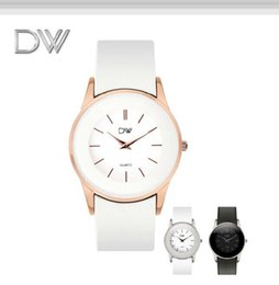 Wholesale Dw quality goods market really belt watches for women Concise the market test Waterproof female table rose gold white students watch
