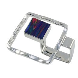 Pure handmade 925 silver fashional mystic Japanese opal square shape in beautiful waved dynamics for R997