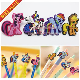 Wholesale Best for Gifts SET My Little Pony Lovely Cartoon Pencil Cap for Standard Pencils Pencil Sleeve Kawaii Pen Pencil Loops Pen Caps Topper