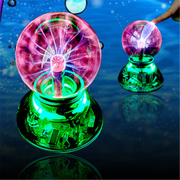 Wholesale 2015 Novelty Lighting USB Magic Ball Glass Static Plasma Ball Sphere Electronic Magic Ball Light Lamp USB cable Audio control Gift box