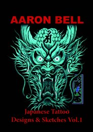 Wholesale PDF Format Tattoo Book ARON BELL Japanese Tattoo black horse dragon lion Design Book Tattoo Flash Sketchbook