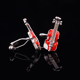 Red Violin Cuff Links Enamel Fashion Cufflinks sleeve nail Fashion Man Accessories Red Cuff-links Music Sleeve Nail