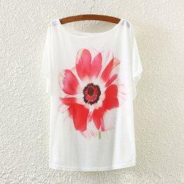 Promotion imprimé floral t-shirts femmes T-shirt Femmes Tops Mode 2016 Style d'été décontracté plus Size Loose Batwing manches T-shirt Femmes T Shirt Floral Print Top Tees