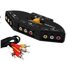 2017 câbles xbox av Gros-100pcs / lot 3 boîte de Port Switch AV Composite Audio RCA Sélecteur Phono Commutateur Hub Câble TV pour Xbox 360 pour PS3 câbles xbox av ventes