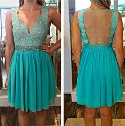2015 Lace Crystals Backless Homecoming Dresses A-line Vintage Sexy Graduation Dresses Hunter Green Party Dresses H090
