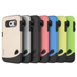 Wholesale For Galaxy S6 edge Slicoo Cobblestone Slim Hybrid Combo Impact PC TPU Back Cover Case Shell Protector for iPhone S Plus SE S