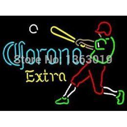 Wholesale Revolutionary Neon Light Super Bright Corona Extra Baseball Player Neon Beer Sign neon sign neon light sign beerbar sign x24