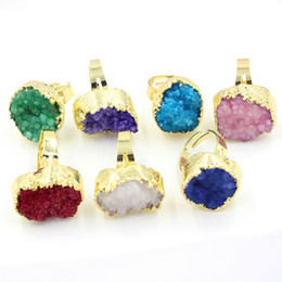 Gold Plated Charm Ring dyeing Rock Crystal Quartz hole Adjustable Rings Accessories Lovers Fashion Wedding Jewelry Amulet 7Pcs Mix Order
