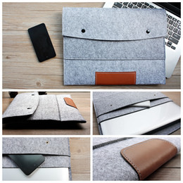 Wholesale Sleeve Inner Wholesale - Wholesale-Fashion 11,13,15 inch Wool Felt Hand Hold Inner Notebook Laptop Sleeve Bag Case Carrying Handle Bag For Macbook Air Pro Retina