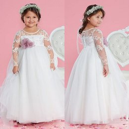 Most Lovely Ball Gown Jewel Floor Length Organza Long Sheer Lace Sleeve Flower Girls Dresses With Flower Wedding Party Pageant Gowns