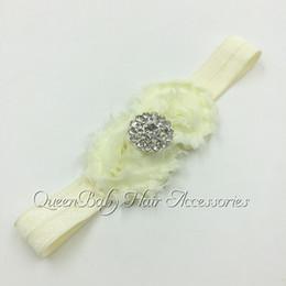 2inch Frayed Shabby Flower Headband Chiffon Flower Macthing Sparking Rhinestones Headband Baby Headband FOE Headband 240pcs lot