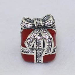 2015 New 925 Sterling Silver Sparkling Surprise Charm Bead with Red Enamel & Clear Cz Fit European Pandora Style Jewelry Bracelets Necklaces