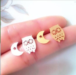 Wholesale Gold Silver Rose Gold Dainty Jewelry Stainless Steel Charm Vintage Owl and Moon Stud Earrings For Kids Childrens Day Gift