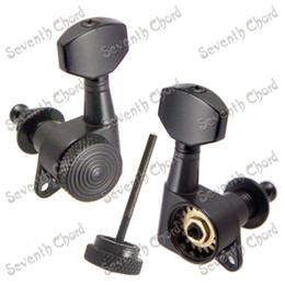 A set of 6 Pcs Black Lock String Guitar Tuning Pegs keys Tuners Machine Heads for Electric Guitar Lock Schaller Style