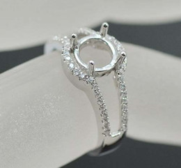 Wholesale Solid K White Gold mm Round Diamond Semi Mount Ring Engagement Ring Setting N010