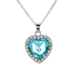 Wholesale Titanic Heart Of The Ocean Crystal Necklace Rhinestone Sea Star Heart Pendant Necklace Chain Jewelry for Girl Woman J0463