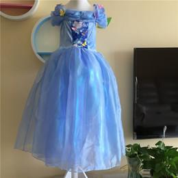 Cenicienta niños vestido del partido en venta-2015 nuevos vestidos de partido de la muchacha de los cabritos de los niños vestido de la princesa de Cinderella de la mariposa Robe Vestidos vestido de bola azul cosplay usan los niños de los trajes