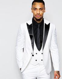 Shinny Fit White Mens Suits Peaked Lapel Custom Made Groom Tuxedos Slim Fit Groomsmen Wedding Suits ( Jacket+Pants+Vest+Tie)